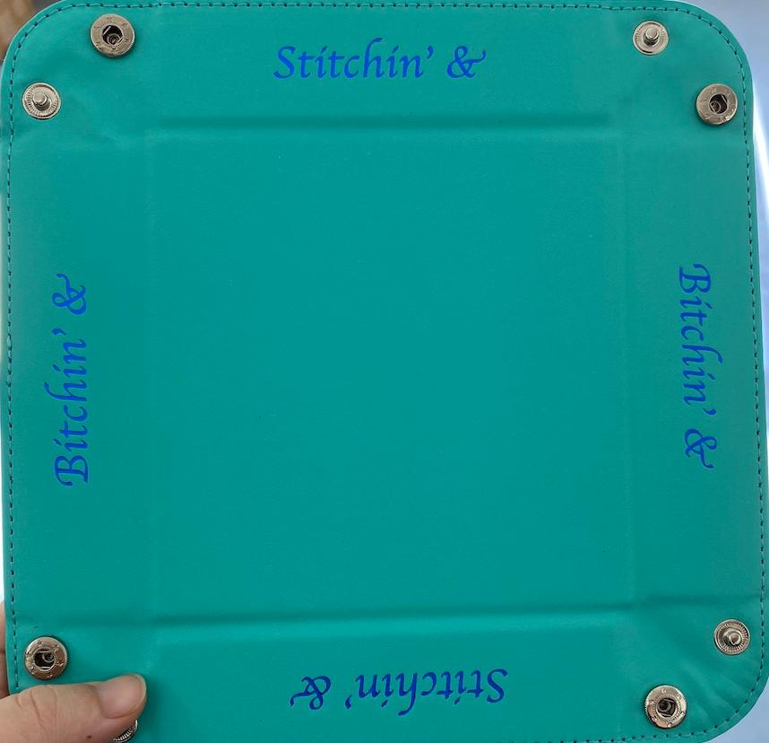 Accoutrement Designs Aqua Stitchin' & Bitchin' snap tray
