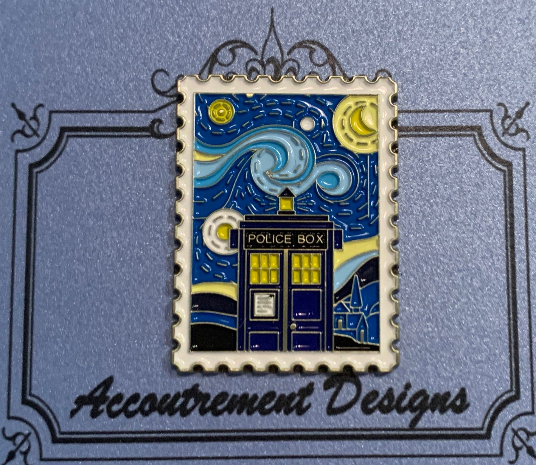 Accoutrement Designs Starry Night Tardis needle minder