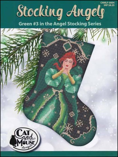 Cat and Mouse #3 Green Stocking Angel