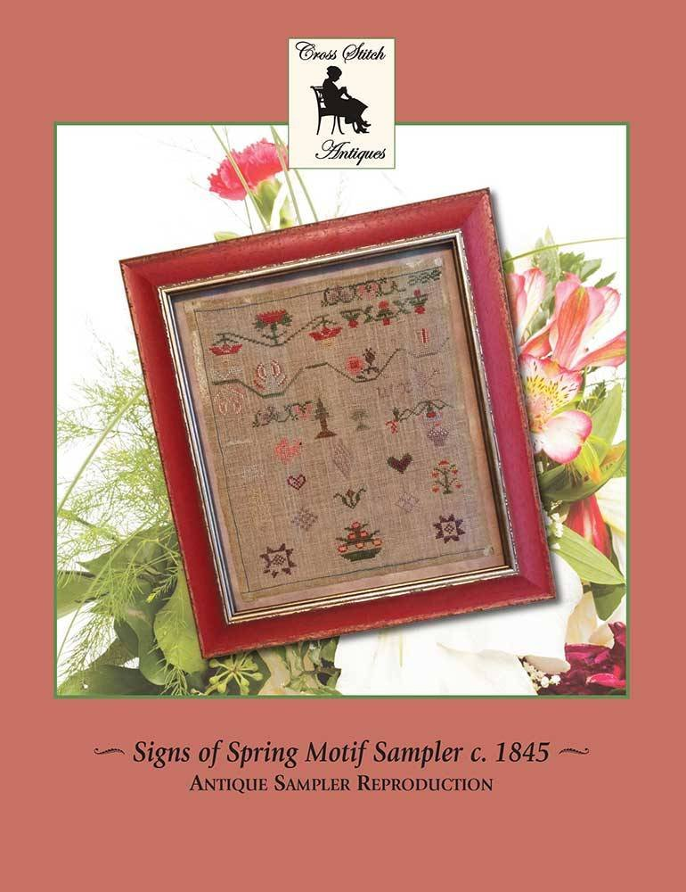 Cross Stitch Antiques Signs of Spring Motif Sampler c. 1845