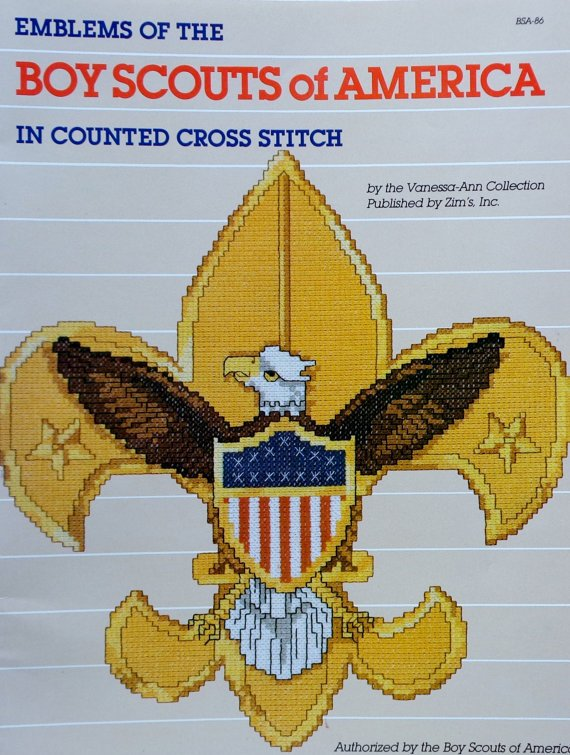 Emblems Of The Boy Scouts Of America In Counted Cross Stitch