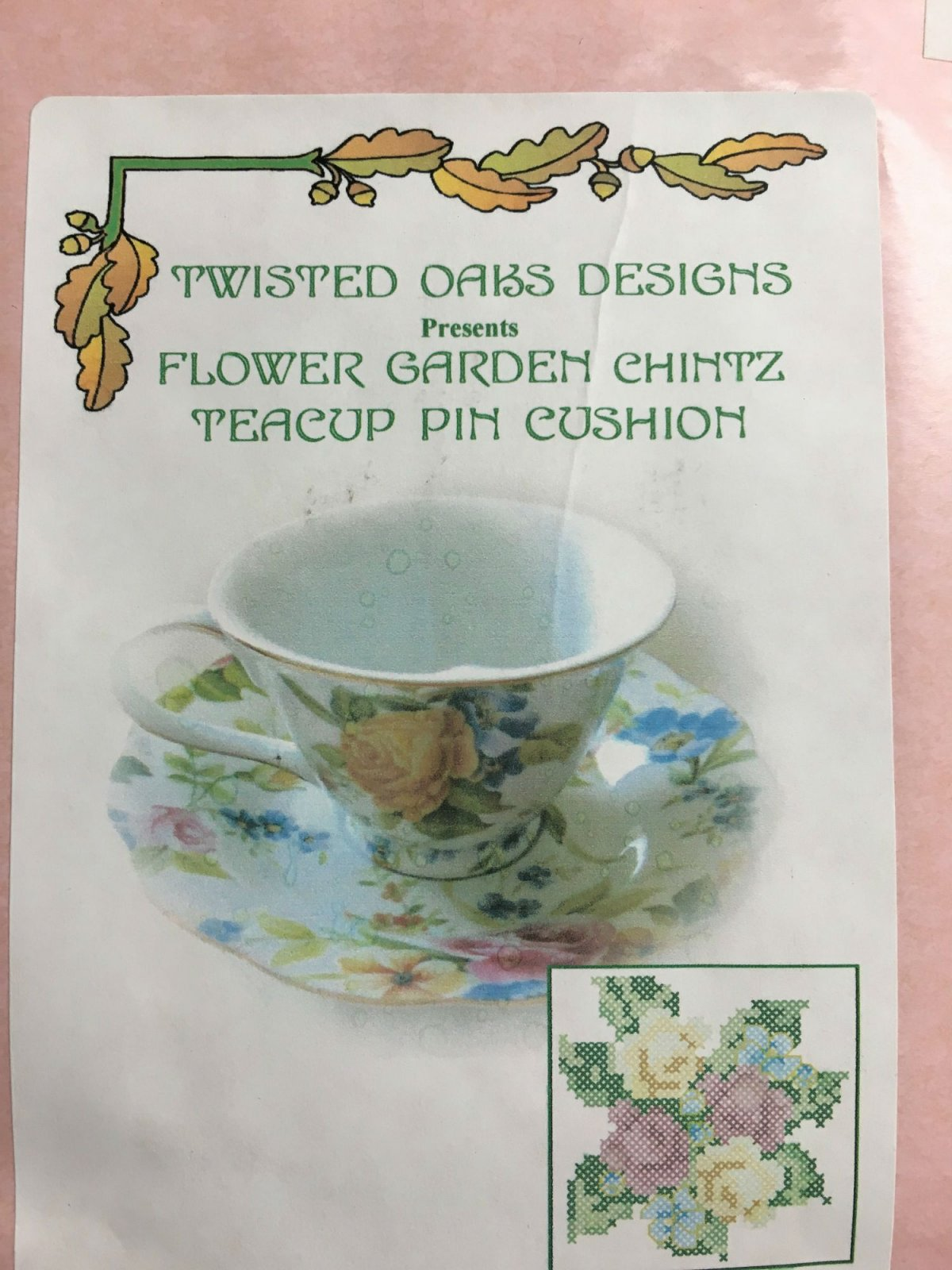 Twisted Oaks Designs Flower Garden Chintz Teacup Pin Cushion kit