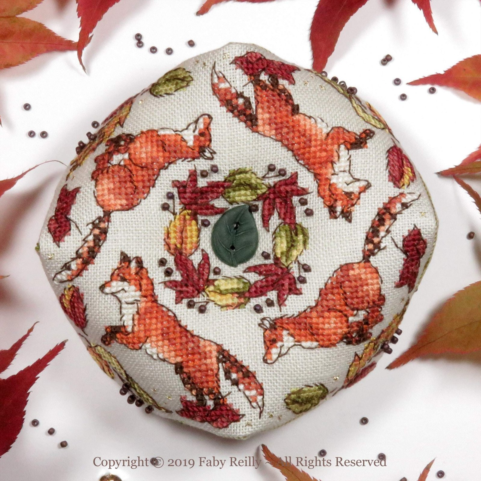 Faby Reilly Designs Ring a Ring o'Foxes Biscornu