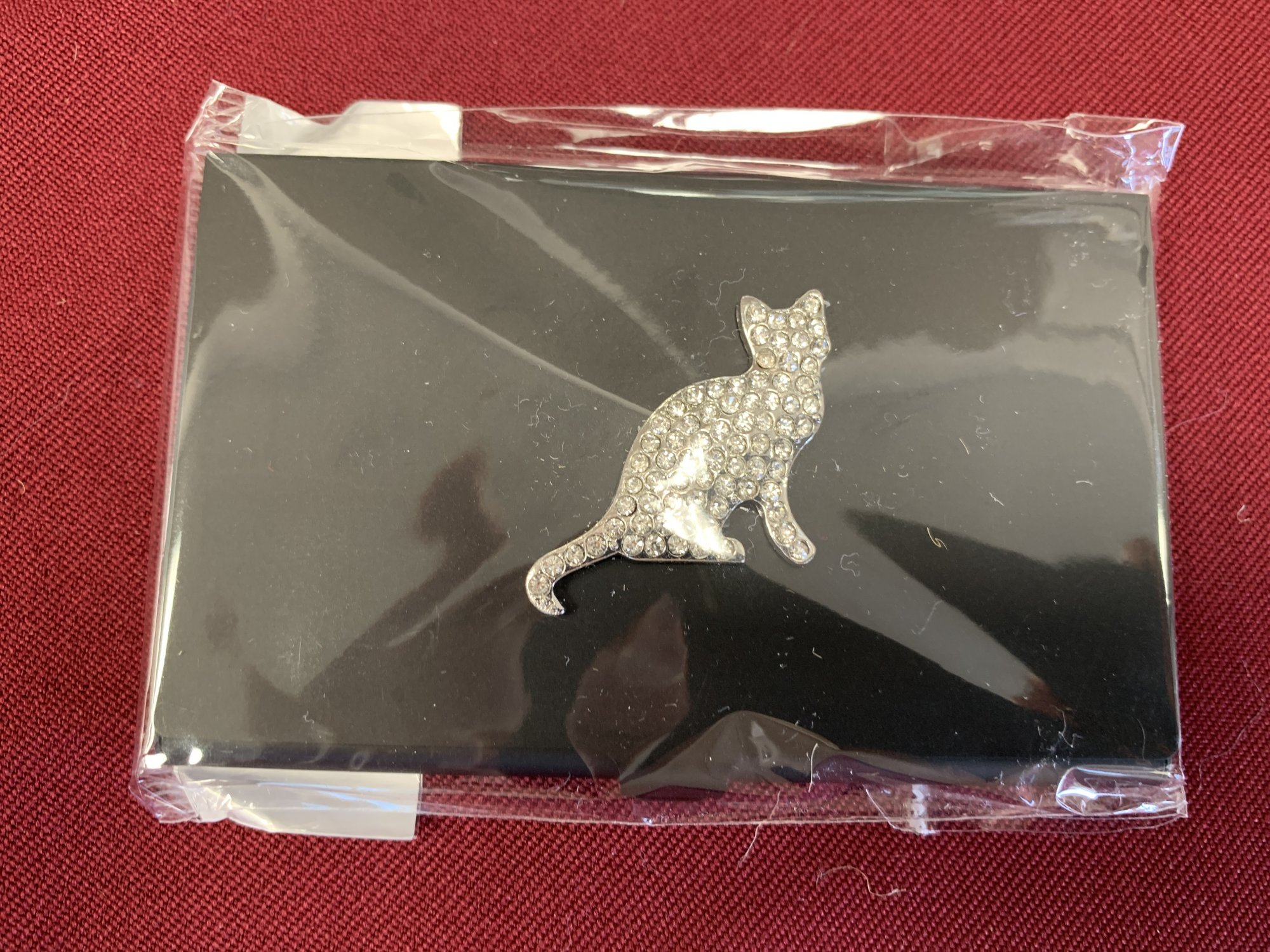 Accoutrement Designs Bead Case Black with White Cat