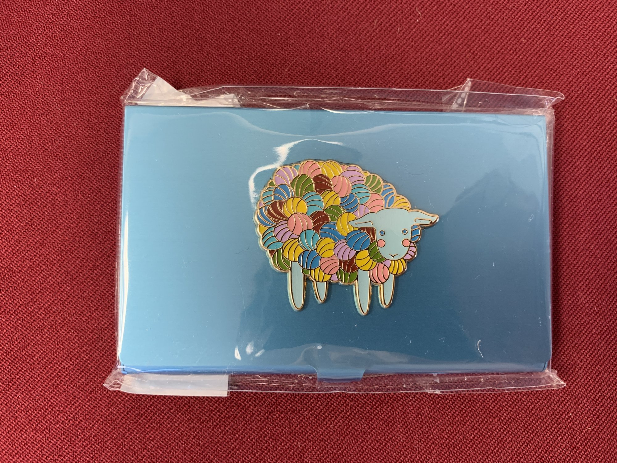 Accoutrement Designs Bead Case Blue with Yarn Sheep