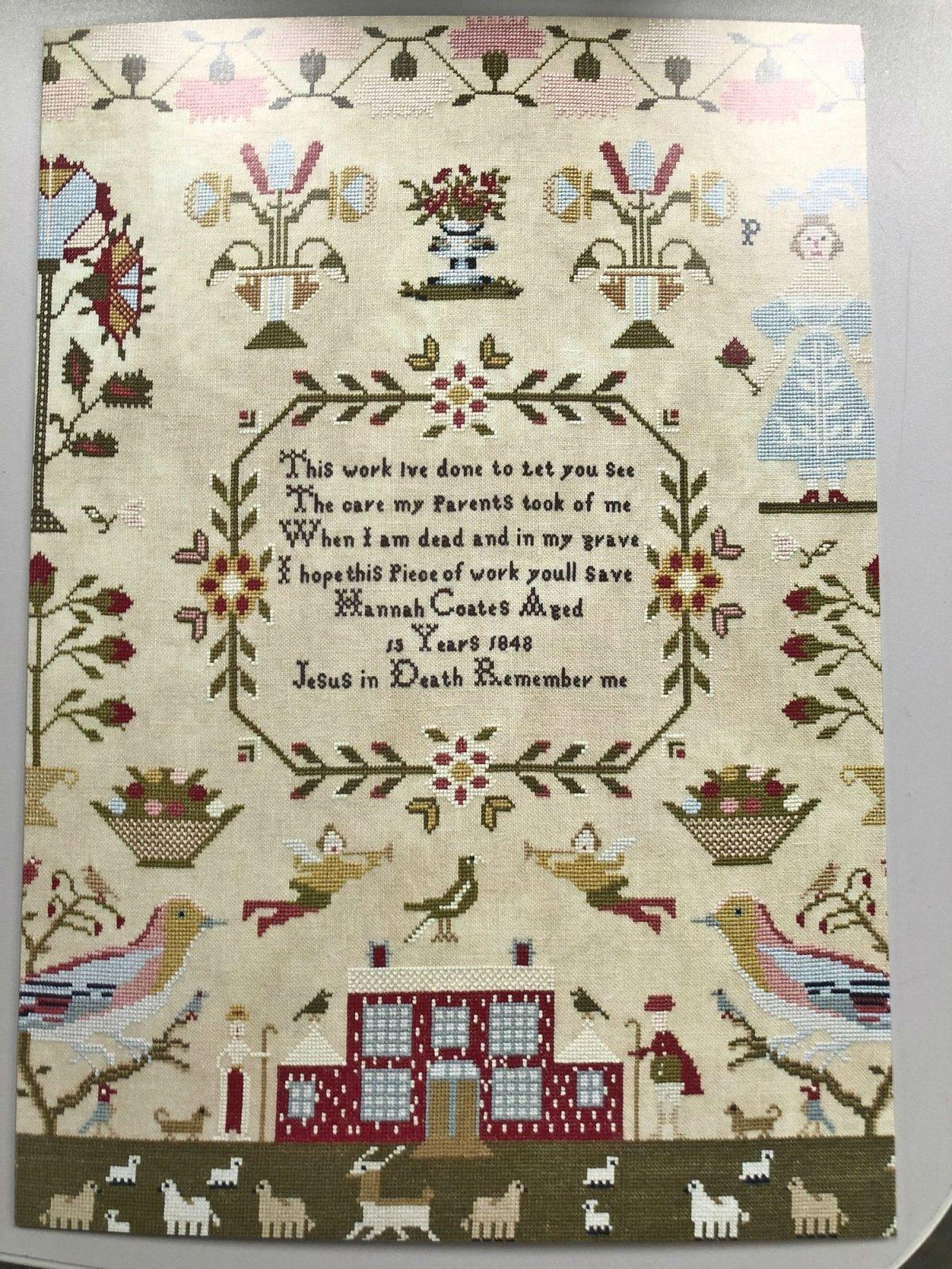 Hands Across the Sea Samplers Blank Greeting Card Hannah Coates
