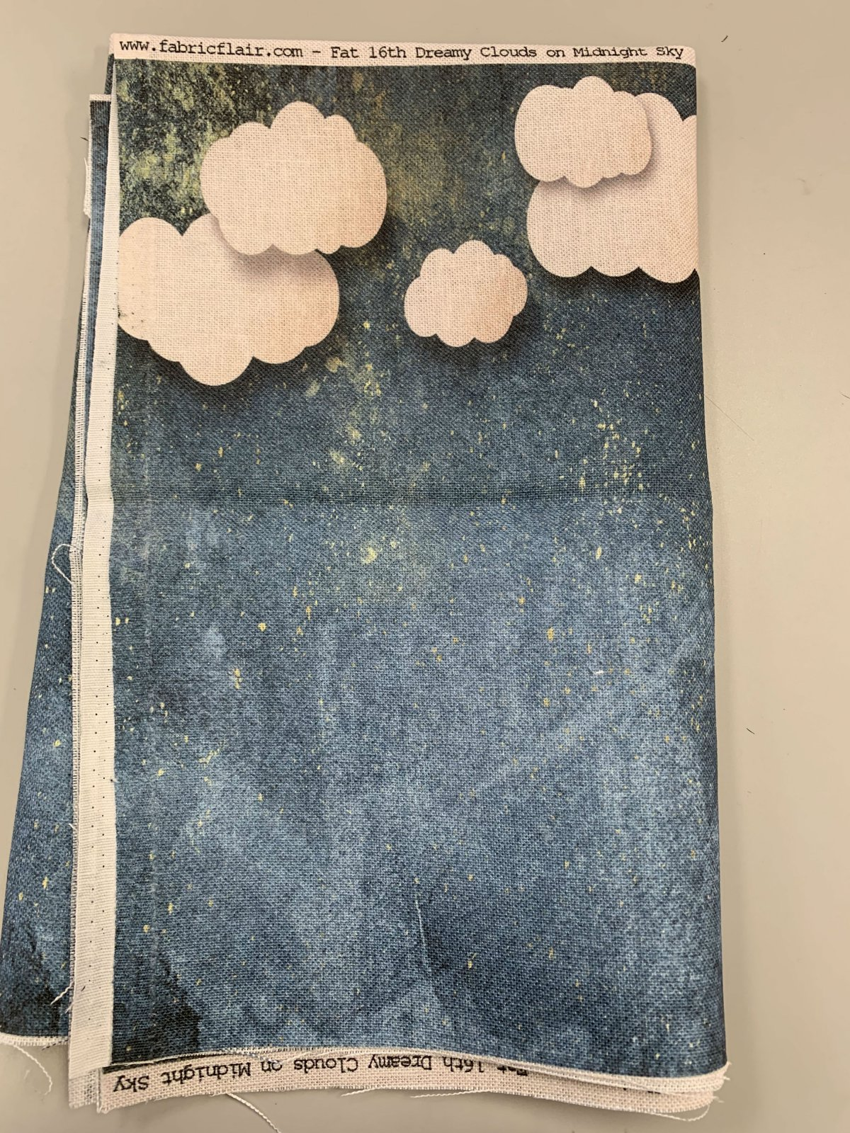 Fabric Flair Dreamy Clouds Midnight Sky 28ct 14 x 9 for Romy's Santa is Coming