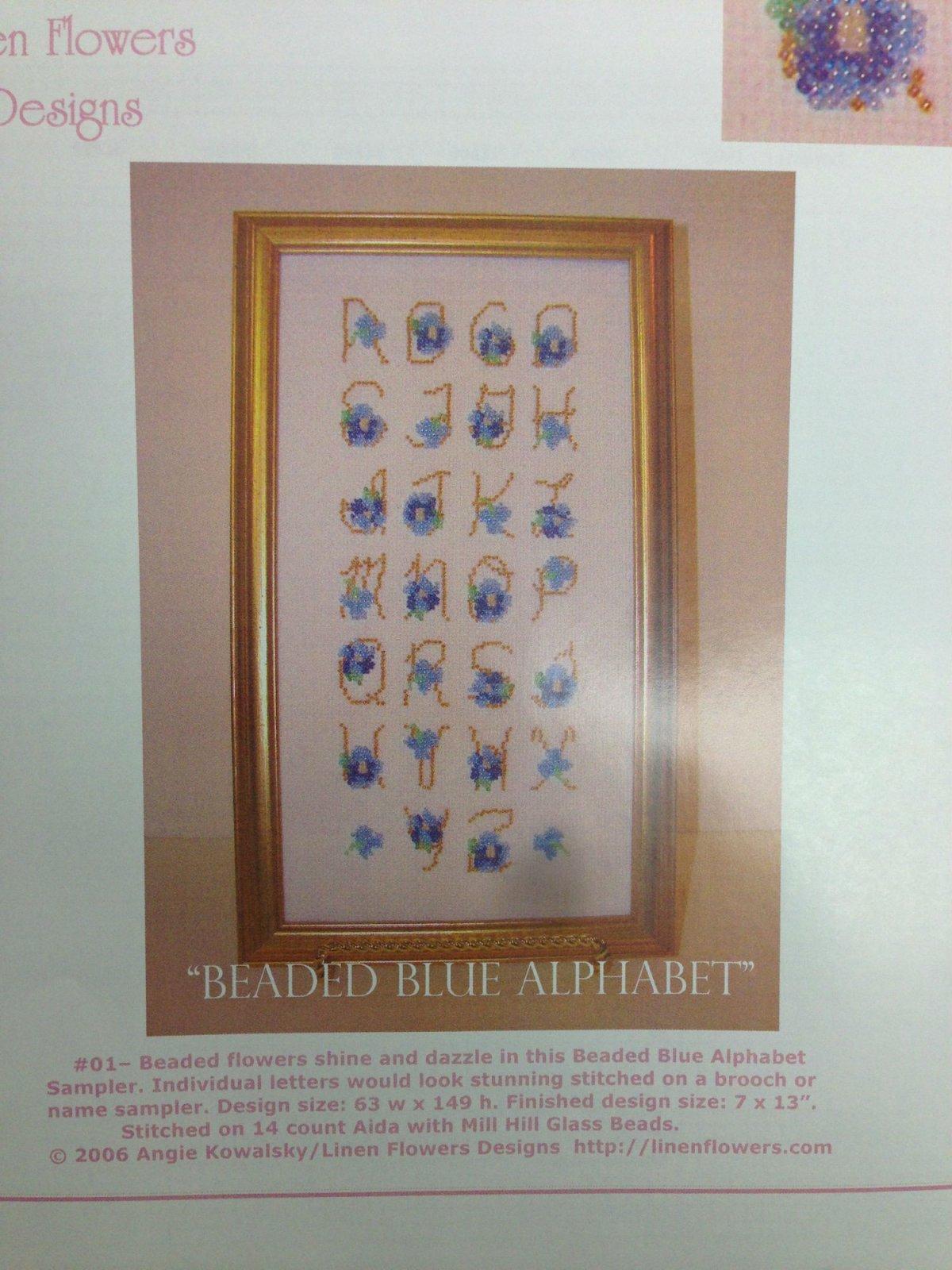 Linen Flowers Designs Beaded Blue Alphabet