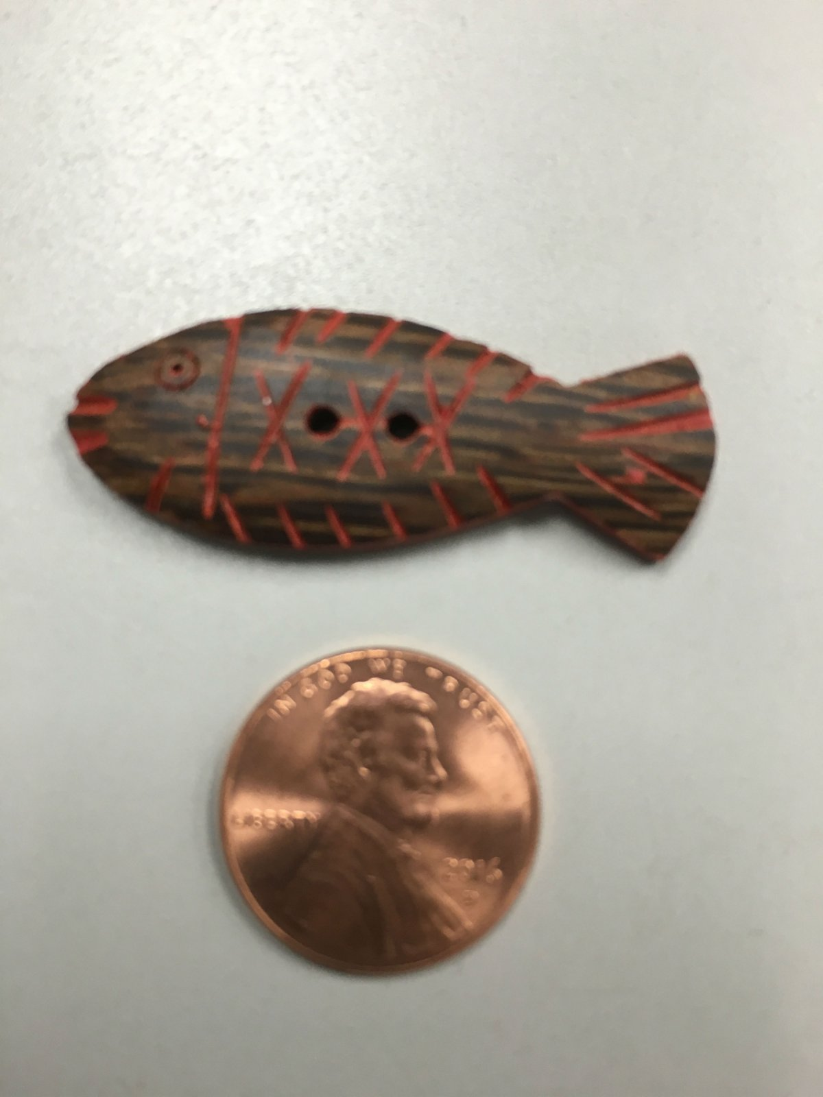 Large Wood Carved Fish Buttons