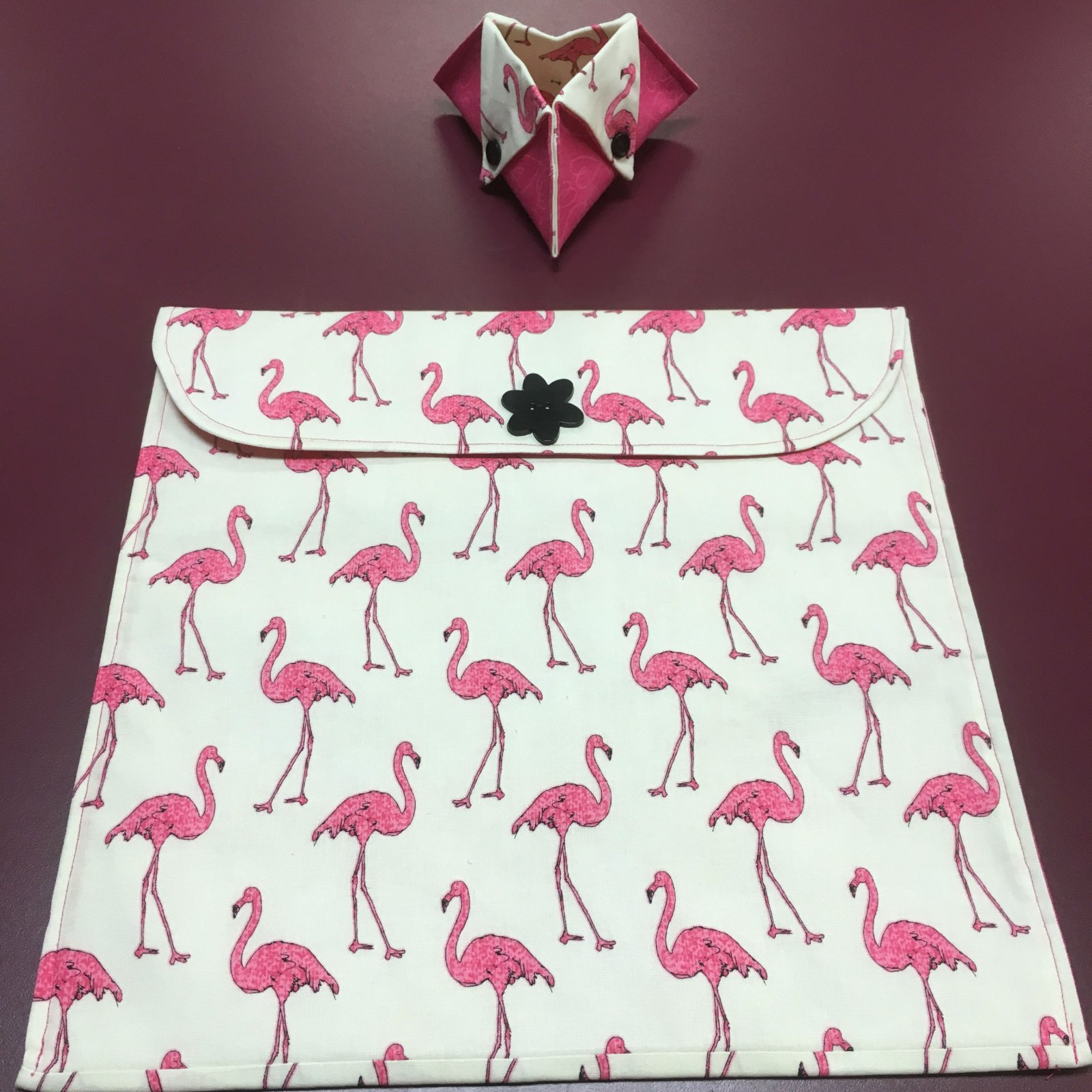 Project bag and ort bag - Pink Flamingos 12.5 x 12.5