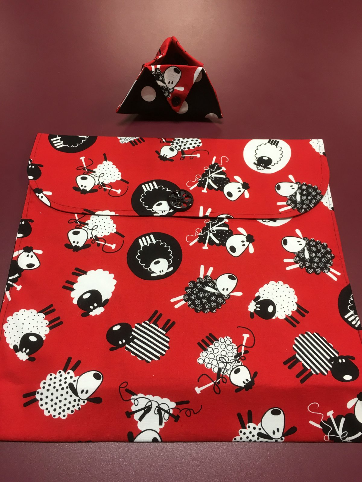 Project bag and ort bag - Red with Sheep 14 x 13.25