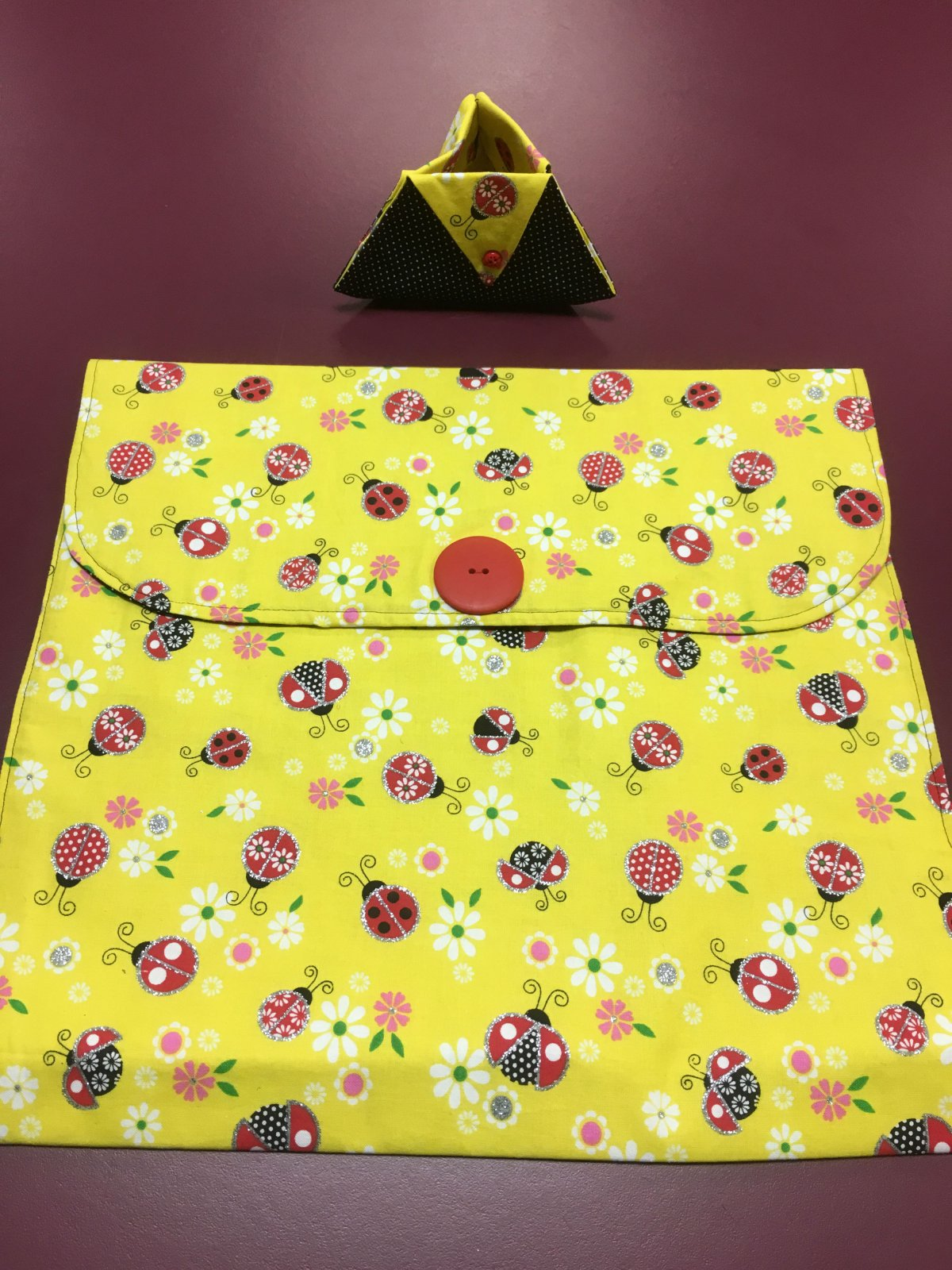 Project bag and ort bag - Yellow, Floral, and Ladybugs 14 x 13.25