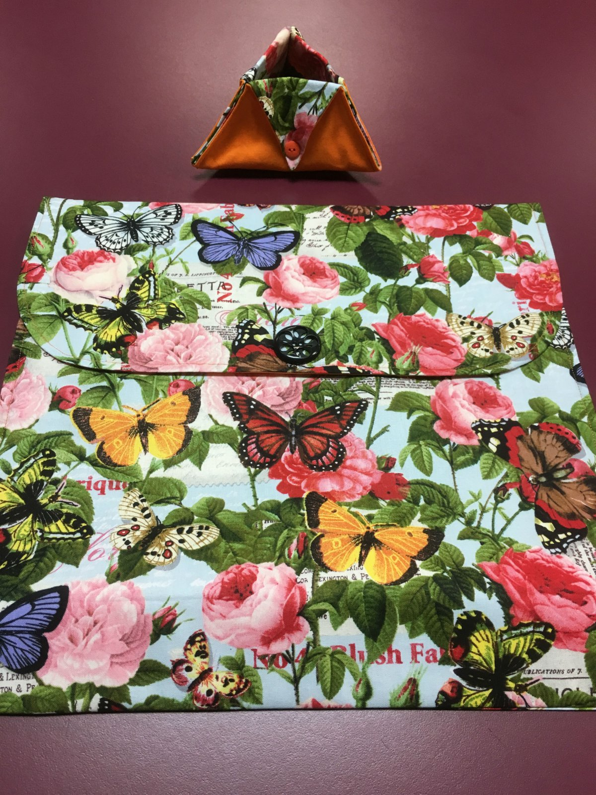 Project bag and ort bag - Flowers and Butterflies 14 x 13.25