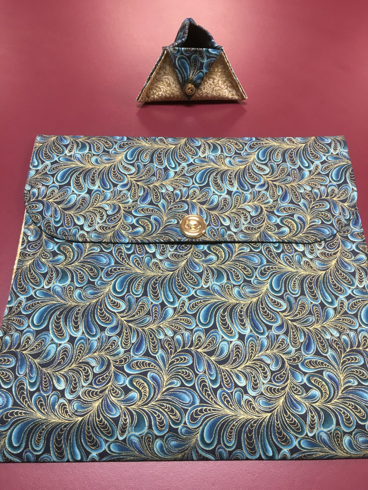 Project bag and ort bag - Navy, Teal, and Gold 14 x 13.25