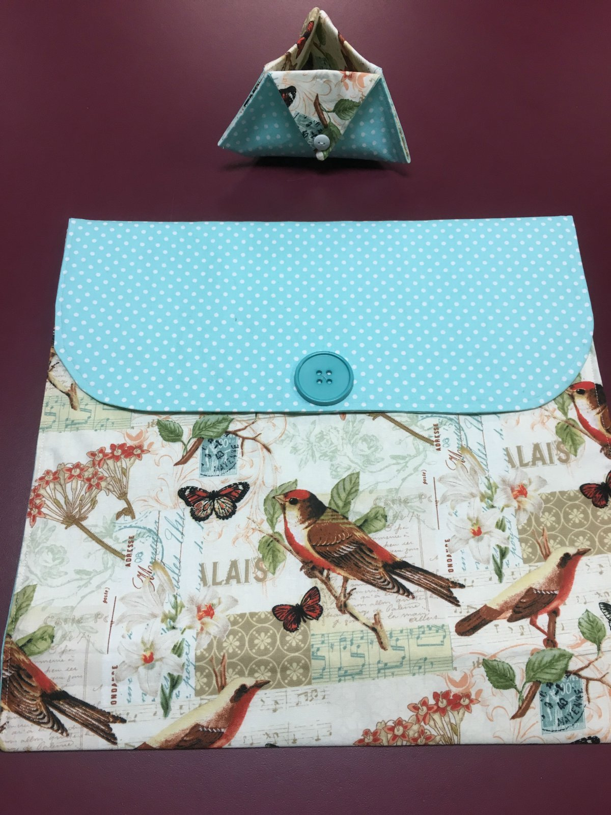 Project bag and ort bag - Birds and Butterflies 14 x 13.25