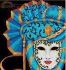 Rinna Cross Stitch Designs Mask Of Mardi Gras - Bright Blue