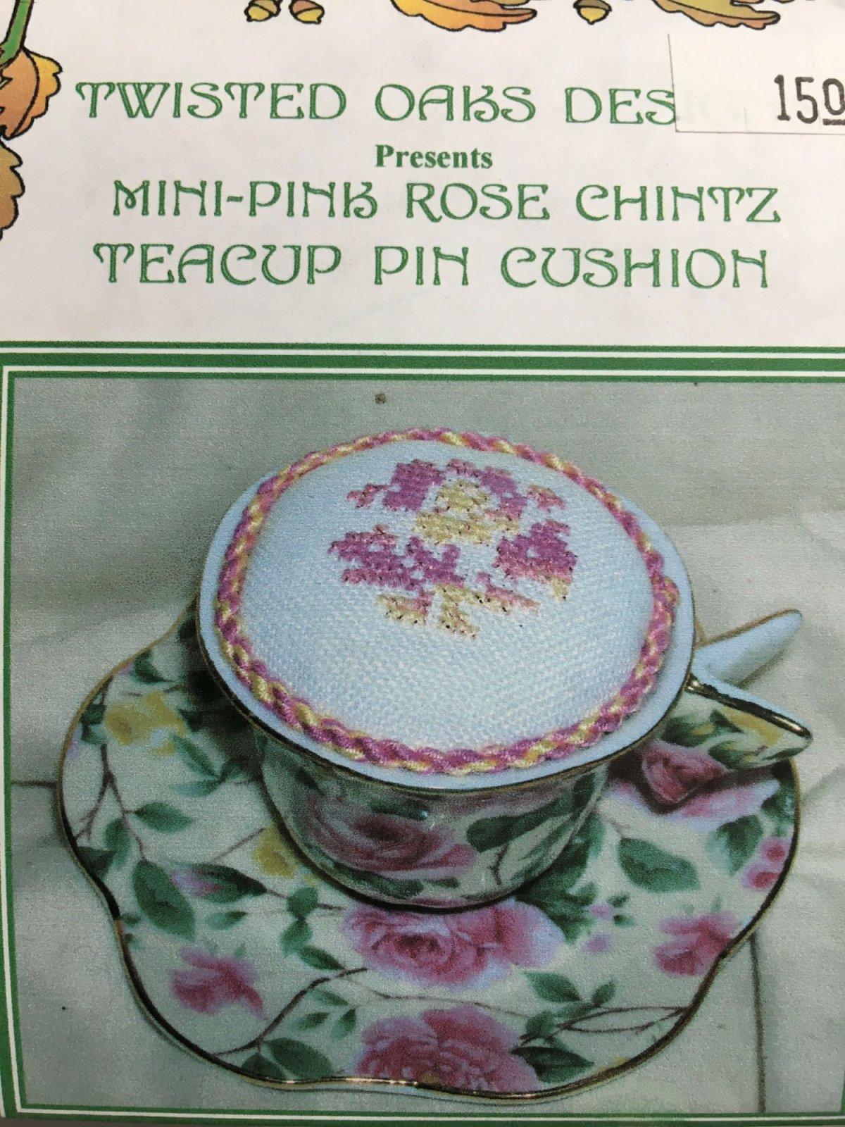 Twisted Oaks Designs Mini Pink Rose Chintz Teacup Pin Cushion kit