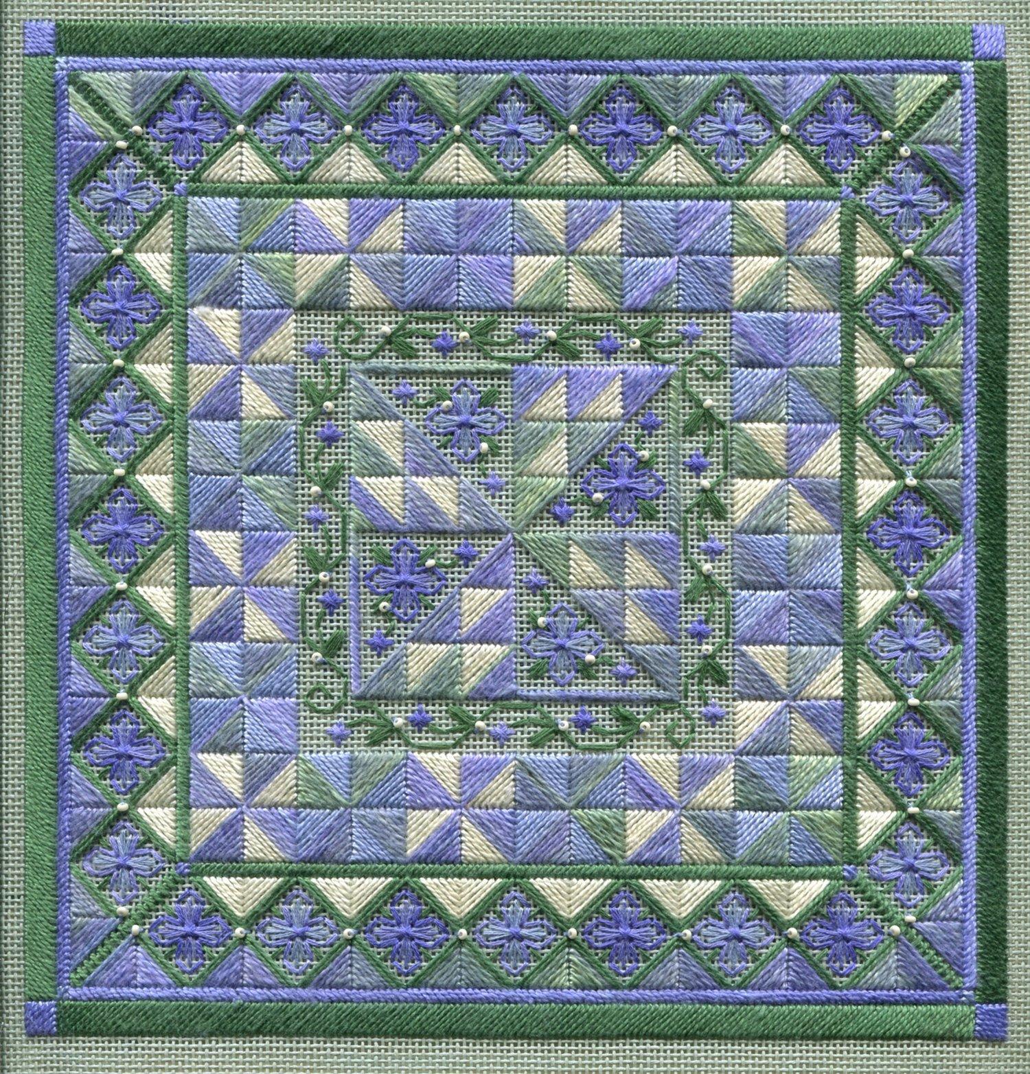Laura J Perin Periwinkle Pinwheels w/beads