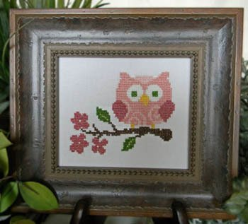 Cherry Hill Stitchery Pink Owl On Branch