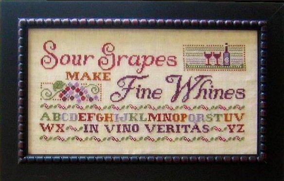 Primrose Needleworks Sour Grapes Make Fine Whines