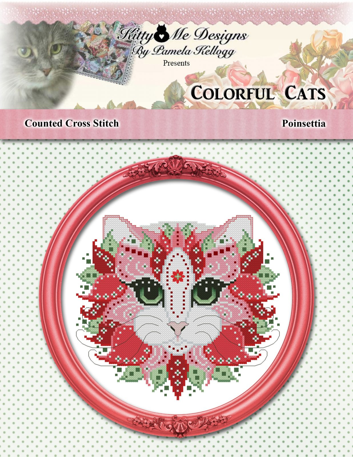 Kitty and Me Colorful Cats Poinsettia