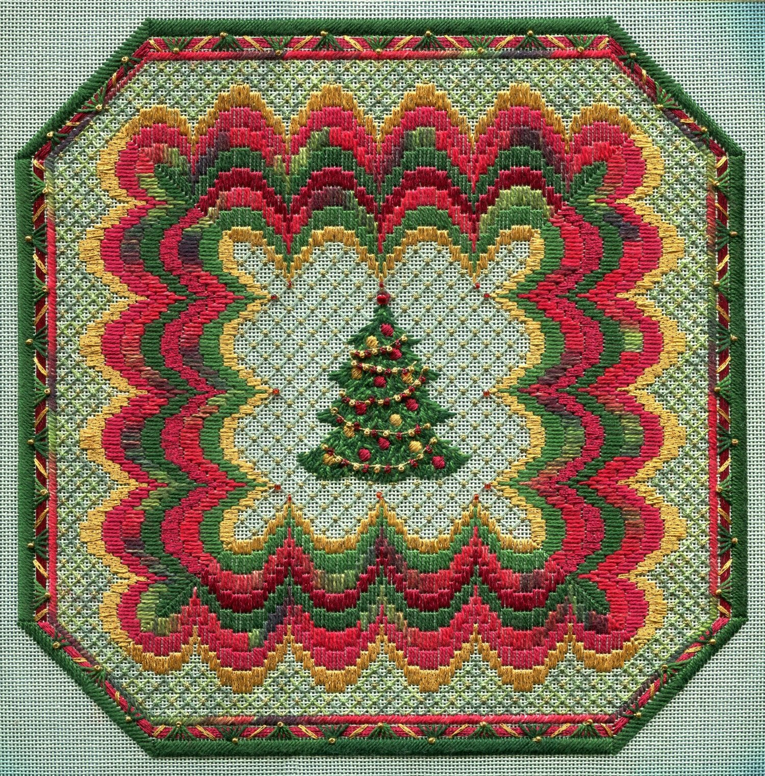Laura J Perin Bargello Christmas Square w/embellishments