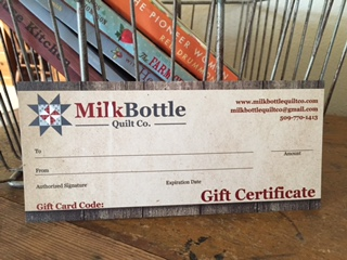Milk Bottle Quilt Company Gift Certificate
