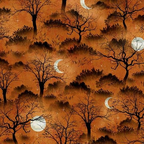 Frightful Night Trees and Moon (Orange) by Art Licensing for Wilmington Prints