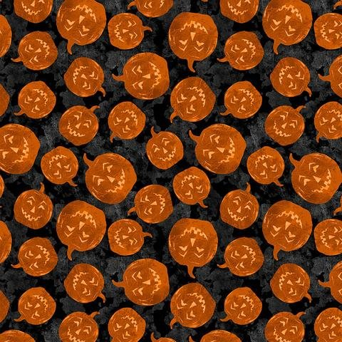 Frightful Night Pumpkin Toss (Black) by Art Licensing for Wilmington Prints