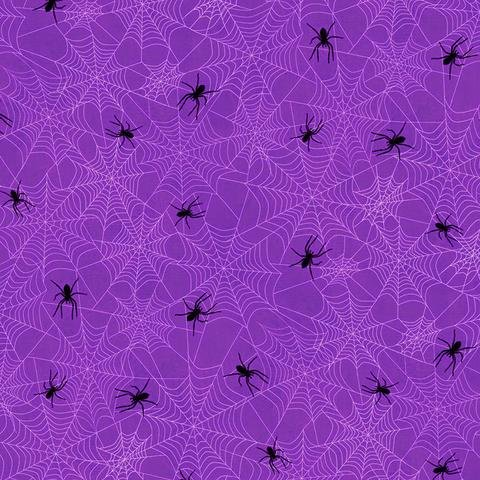 Frightful Night Spider Webs (Purple) by Art Licensing for Wilmington Prints