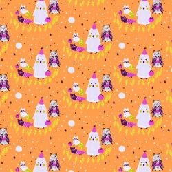 Bring Your Own Boos Ghoul's Night (Orange) from Cotton + Steel Fabrics