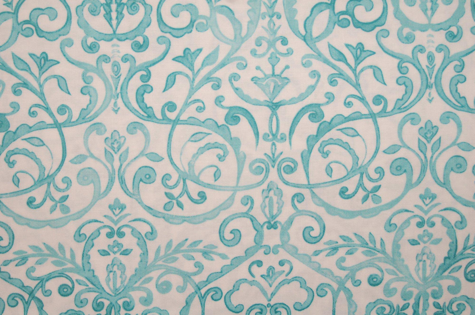 Merry Mistletoe - Scrollwork (Aqua) from Dena Designs for Free Spirit