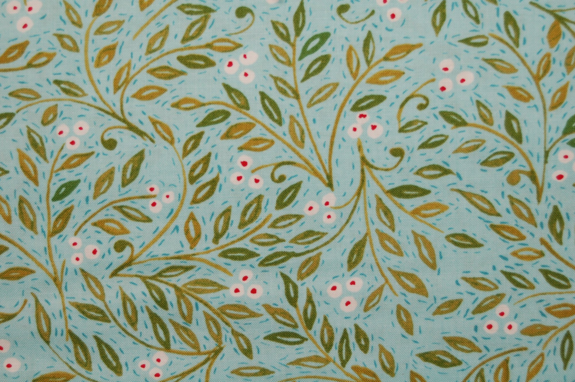Merry Mistletoe - Holly Berries (Aqua) from Dena Designs for Free Spirit