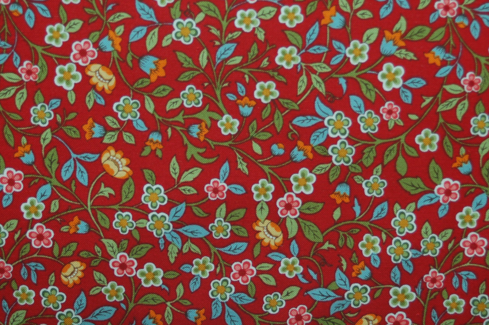Poetica - Vine and Flowers Red from Exclusively Quilters