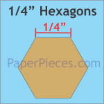 1/4  Hexagon paper peicing