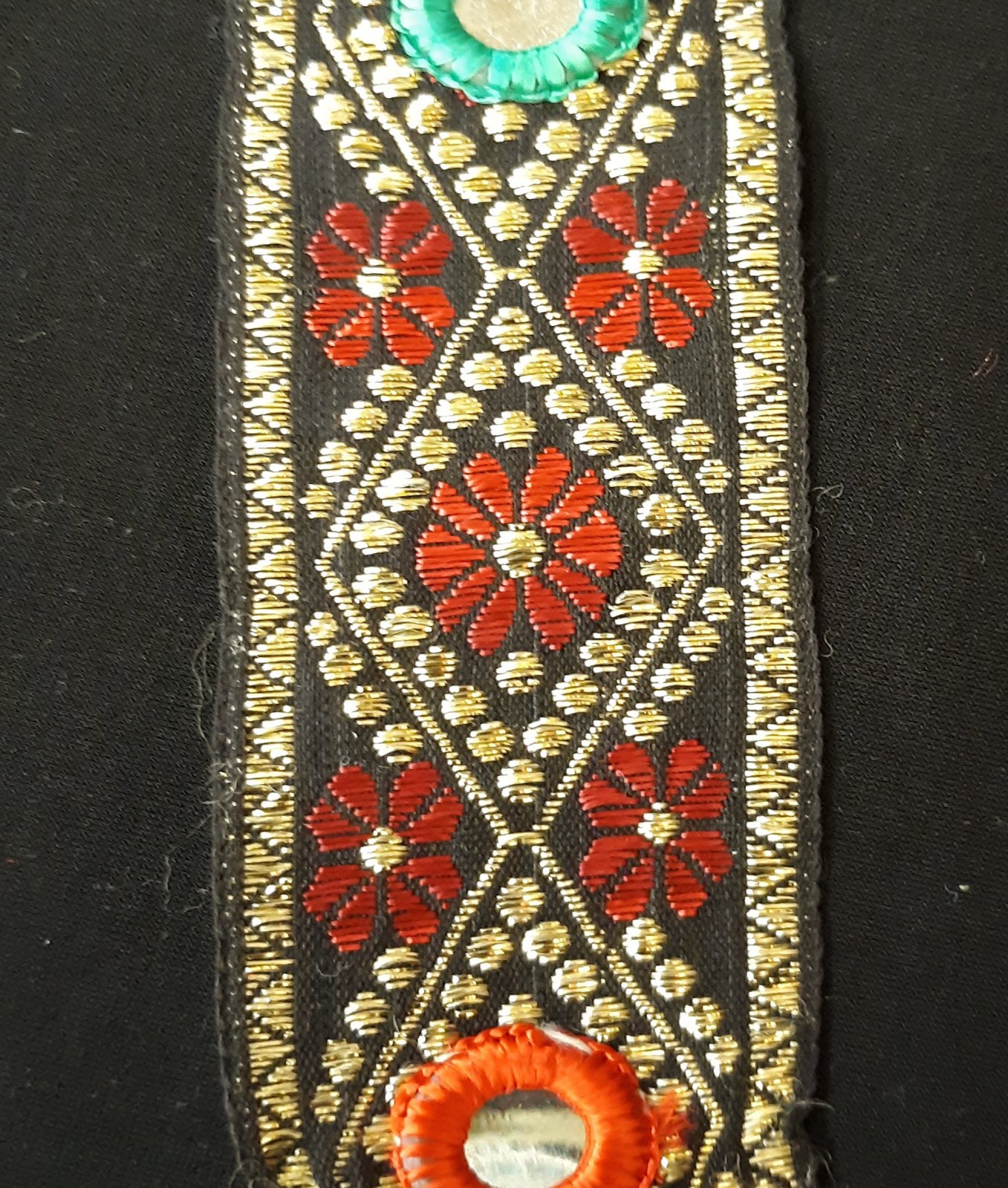 Black/Gold with Red Flowers