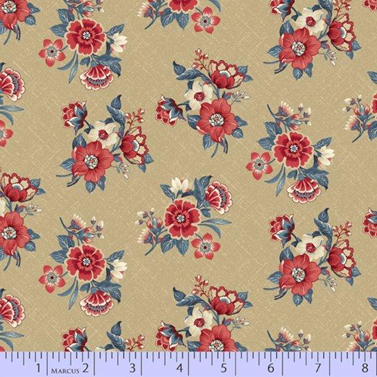 Blue Meadow - Blue Bouquets (Tan)