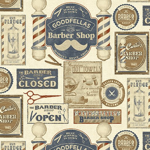 Barber Shop - Shave and Haircut (Parchment/Multi)