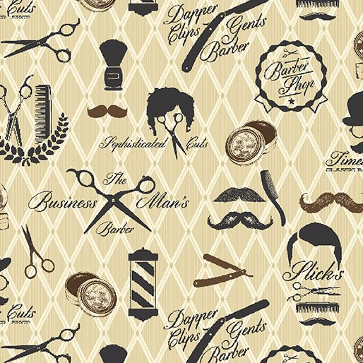 Barber Shop - Moustache Men (Black/Parchment)