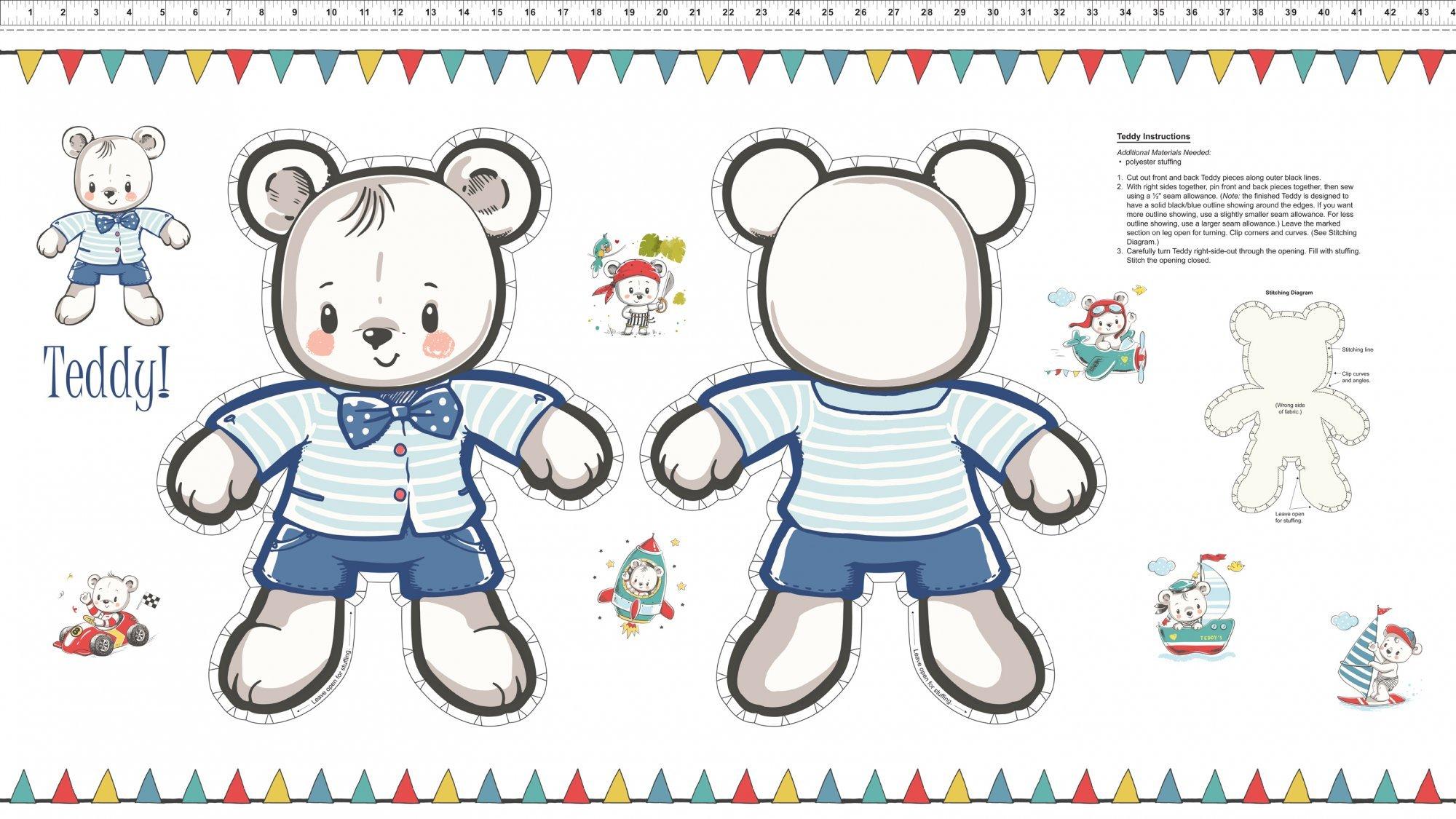 Teddy's Great Adventure - 24 Stuffed Bear Panel
