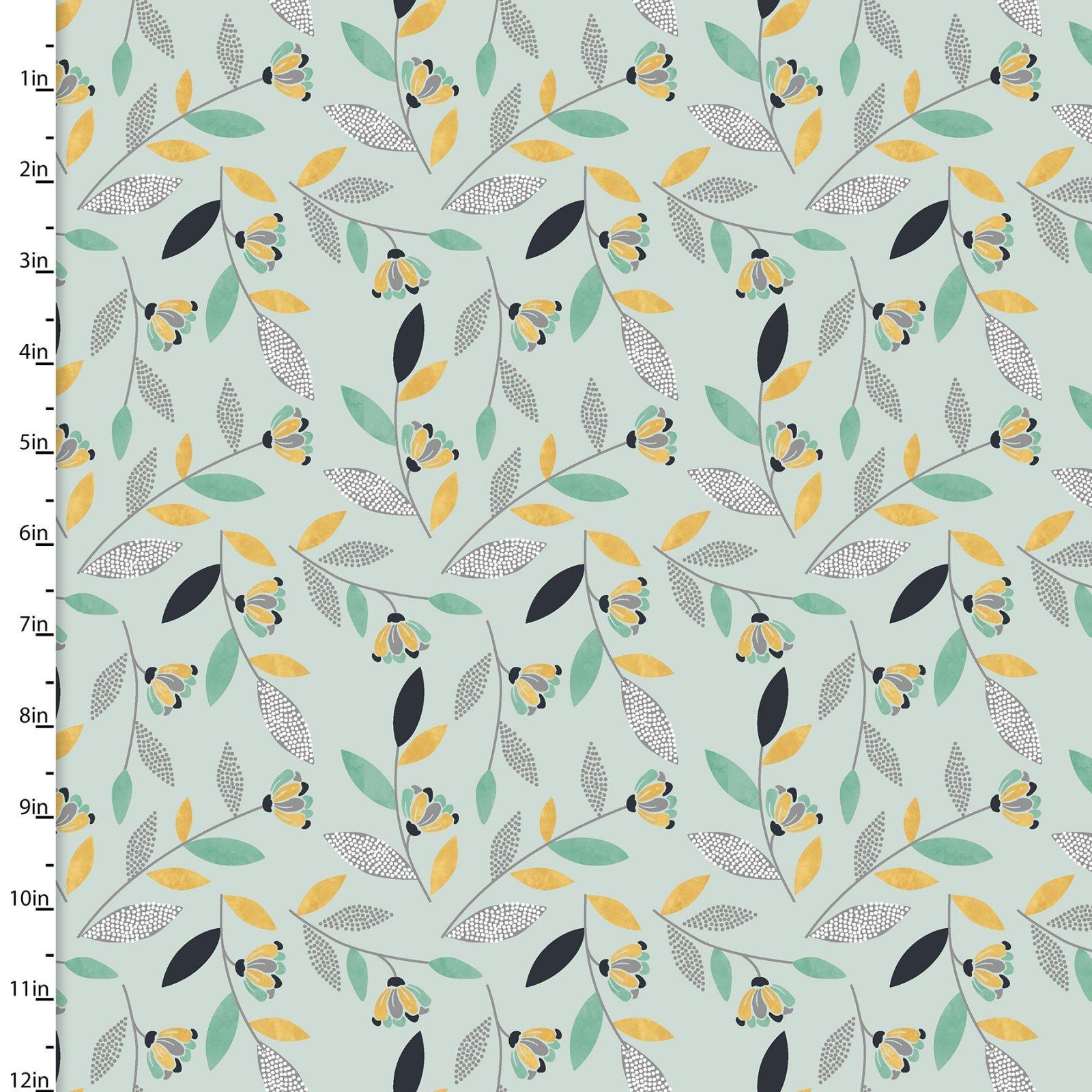 Songbirds - Flower Stems (Light Blue Background)