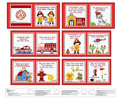 Everyday Heroes - 36 Firefighter Book Panel (Red)