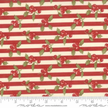 Snowfall Prints - Holly Stripes (Red)
