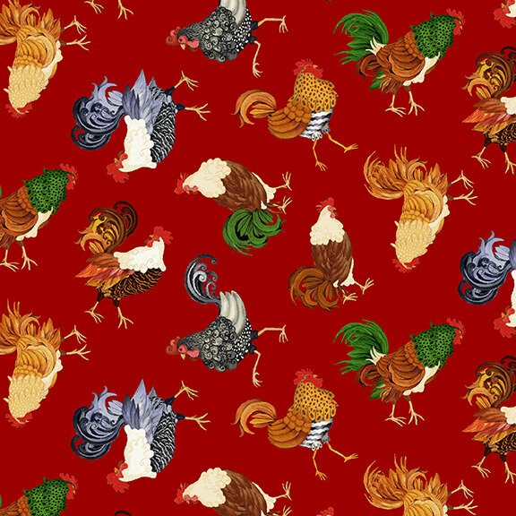 Farm Raised - Tossed Chickens and Roosters (Red)