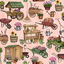 A Gardening We Grow - Garden Carts and Shed (Lt Pink)