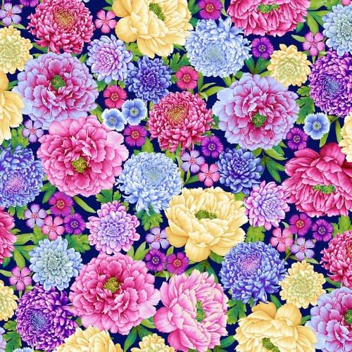 Gossamer Garden - Large Allover Floral (Royal)