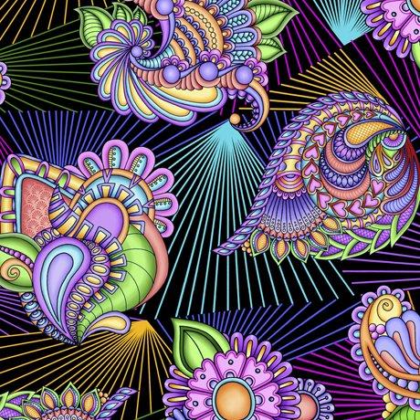 Festival - Floral Paisley Prism (Black)