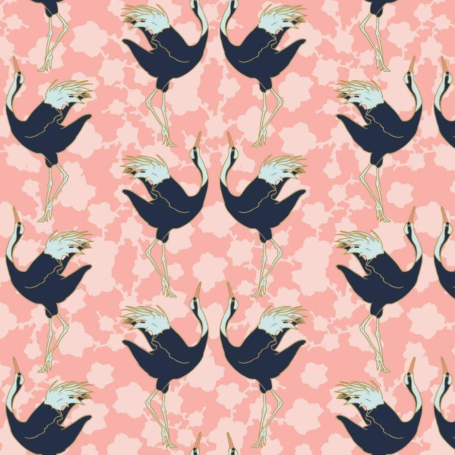 Mystic Cranes - Dancing Cranes Metallic (Pink)