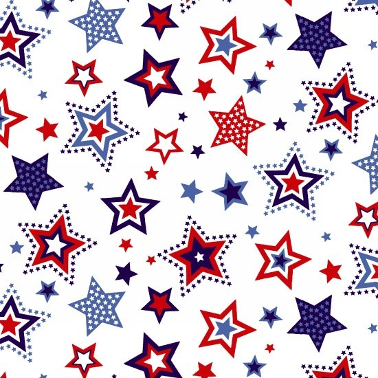 Red White and Starry Blue - Large Stars (White Background)