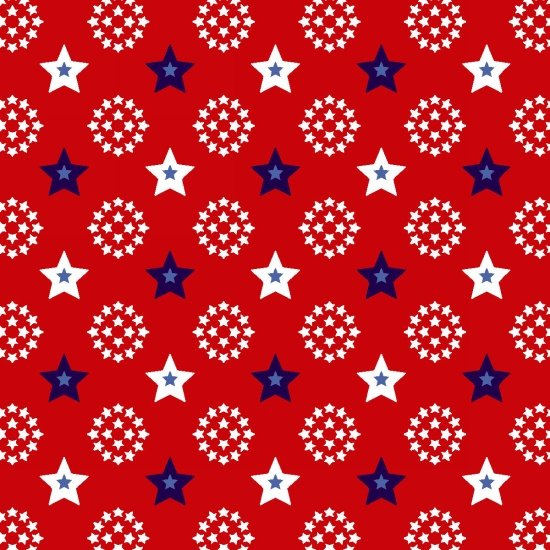 Red White and Starry Blue - Small Stars (Red Background)